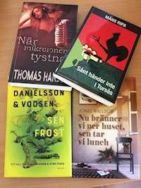 Bild på fyra romaner som utspelas i Småland