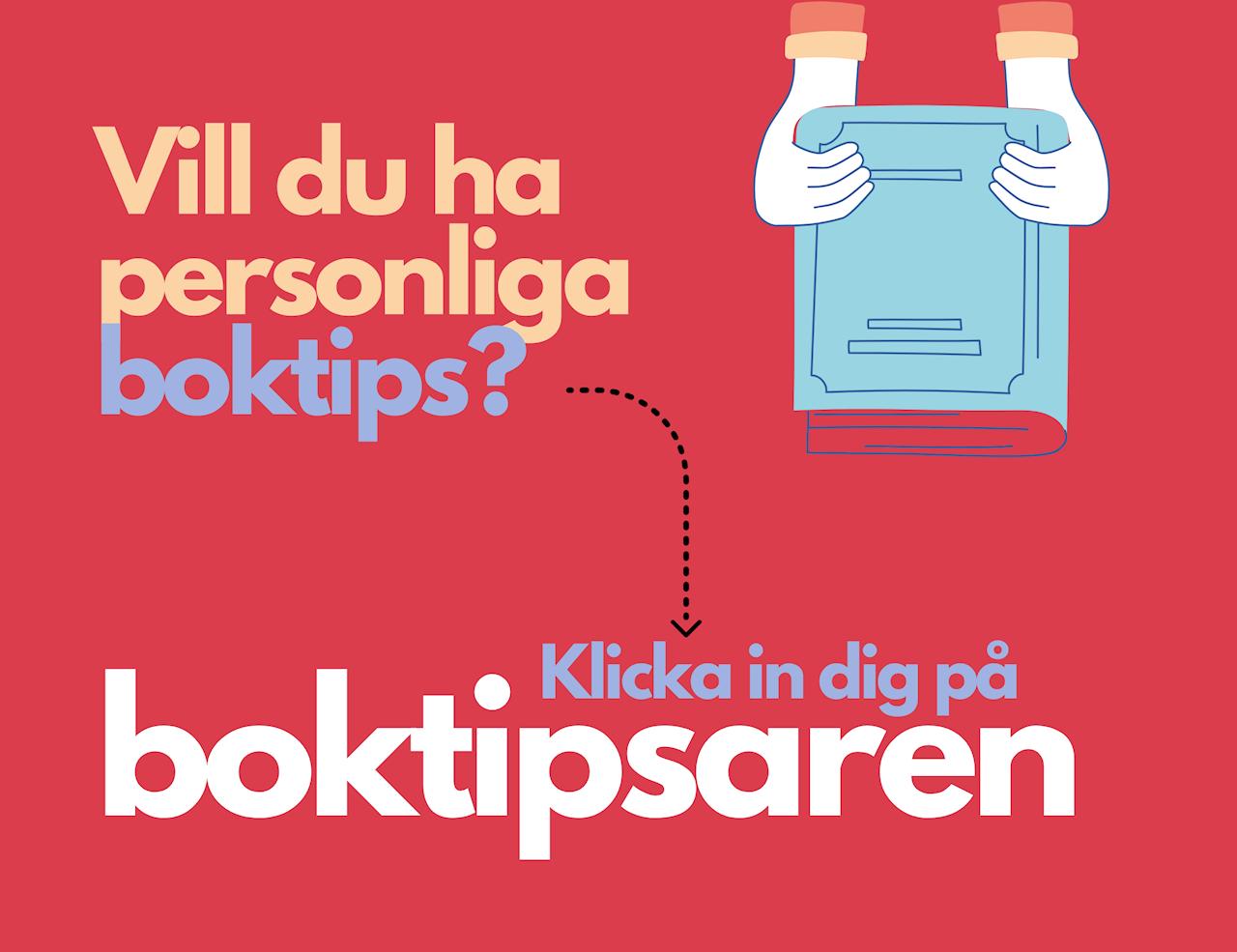 Klicka in dig på boktipsaren. Ett par händer håller upp en ljusblå favoritbok mot hallonröd bakrund.